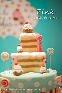 Sweet shop birthday party idea via www.KarasPartyIdeas.com! LOVE the adorable cupcake sweet shoppe cake!