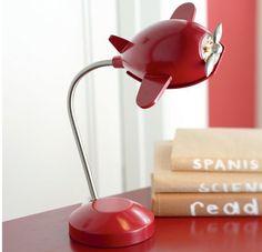 pottery barn kids red plane lamp