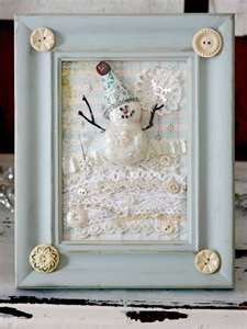 sweet snowman framed with lace ribbon and buttons
