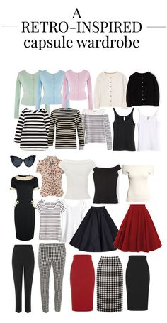 A retro-inspired capsule wardrobe, featuring 24 items, all in a retro/pin-up inspired style. Learn how to create a capsule wardrobe of basic, retro items. Minimal Fashion, Retro Fashion, Vintage Fashion, High Fashion, Fashion Capsule, Fashion Outfits, Plus Size Capsule Wardrobe, Mode Rockabilly, Vintage Mode