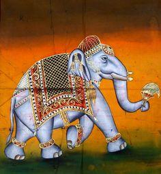 Indian Elephant Elephant Artwork, Elephant Fabric, Elephant Applique, Mughal Paintings, Indian Paintings, Animal Paintings, Indian Animals, Rajasthani Painting, Indian Font