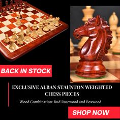 Exclusive Alban Staunton Weighted Chess Pieces Set The Alban Series has been expertly carved out to ensure simplicity and stability.Simple yet stylish knights have been carved in such a way that a chess player feels no sharp edges, yet the Knight's hair make it a distinctive and unique set. Wood Chess Board, Chess Players, Chess Pieces, Knights, Bud, Stability, Mall, Feels, Carving