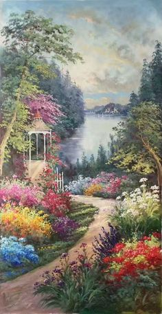 Landscape Art, Landscape Paintings, Canvas Frame, Canvas Art, Paradise Garden, Garden Park, Thomas Kinkade, Private Garden, Something Beautiful