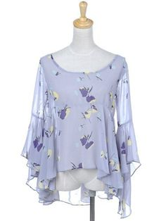 Anna-Kaci S/M Fit Light Purple Chiffon Flowy Abstract Butterfly High Low Blouse Anna-Kaci. $22.00. Save 40% Off!