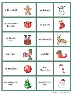 french christmas vocabulary bingo loto de noel french learning french christmas teaching. Black Bedroom Furniture Sets. Home Design Ideas