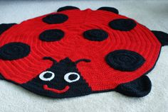 Girls ladybug crocheted afghan blanket, photography prop, or a small rug $70.00