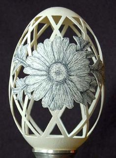 Egg decorating with flower carving