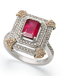 14k White and Rose Gold Ring, Ruby (2 ct. t.w.) and Diamond (1/2 ct. t.w.) Emerald-Cut Ring - Rings - Jewelry & Watches - Macy's