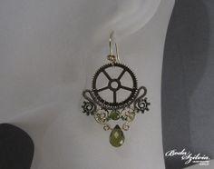 STEAMPUNK QUEEN  OOAK wire wrapped earrings  brass by bodaszilvia, $45.50