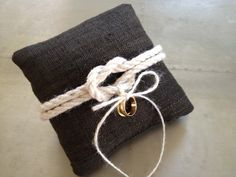 Linen wedding ring pillow.
