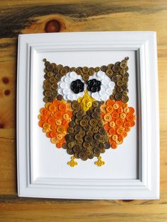 Owl Button Animal, Purple, Canvas Panel, 8x10