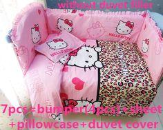 Discount! 6/7pcs Hello Kitty Baby Bedding Set for Crib Newborn Baby Bed Linens for Girl Boy Cartoon,120*60/120*70cm
