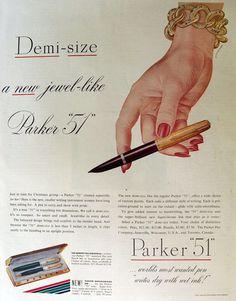 "1947 Parker ""51"" Fountain Pen Ad ~ Artzybasheff Art"