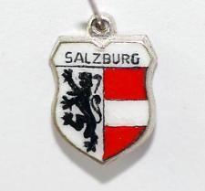 Vintage 800 Silver Enamel Travel Shield Bracelet Charm Salzburg Austria by REU