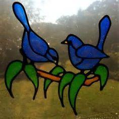 Image detail for -Blue wren bird pair Suncatcher window sticker decal stained glass ...