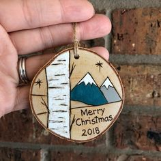 Family Ornament Personalized - Merry Christmas - Happy Holidays - Birch Tree And Mountains - Colorado Ornament - Wood Burned Wood Slice Christmas Tree Quotes, Pencil Christmas Tree, Merry Christmas Happy Holidays, Christmas Wood, Diy Christmas Ornaments, Holiday Crafts, Personalized Christmas Ornaments, Christmas Ideas, Cabin Christmas Decor