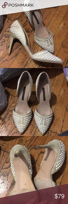 French connection / Ellis D'orsay studded heels Very pretty beige heels with white studs. Awesome condition! French Connection Shoes Heels