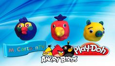 Play Doh Angry Birds kinder surprise eggs Toys unboxing MyCartoonTV