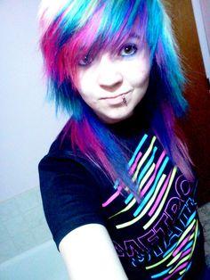 -blonde, pink, blue, and purple hair -lip piercing