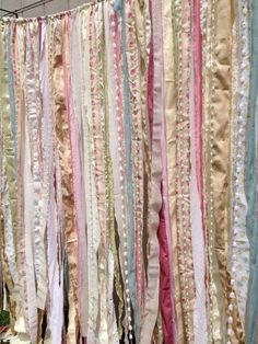 shabby chic curtains too cute love love Shabby Rustic Chic Boho Fabric Garland Backdrop by ohMYcharley, $107.00