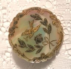 GORGEOUS Antique Incised Pearl Button, Painted & Gilded Birds, Flowers & Border SOLD $64.00 (2017)