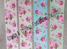 "1.5"" Vintage Tea Party  - Rose  - Cream, Blue, Pink, or Mint  - US Designer Printed Ribbon - 1yd, 3yd or 5 yd"