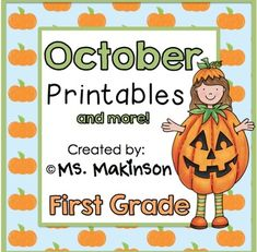 """October Printable Packet - First Grade Literacy, Math, and Science This is a """"no prep"""" printable packet that can be used as a whole-group activity, centers, morning work, homework, review, etc. The theme for this packet is Halloween and pumpkins! :)Download the preview to take a look!This packet is also available in a DISCOUNTED BUNDLE Also available:October Printables - KINDERGARTEN November Printables - FIRST GRADEIncluded:Science:*Living vs Non-Living (cut and paste)*Pumpkin Life Cycle…"""