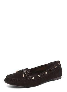 Womens Wide Fit Black 'Walty' Mocasin Loafers- Black