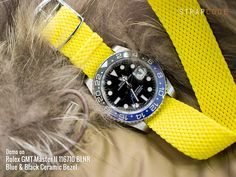 These fancy color Natos and Perlon on #Rolex #GMT Master II 116710 BLNR