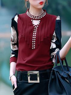 #BFCM #CyberMonday #BerryLook - #berrylook Band Collar Keyhole Printed Rhinestone Blouse - AdoreWe.com