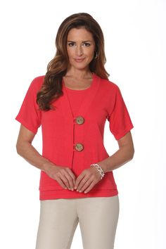 Short Sleeve Cardigan with Coconut Button Closure in Hibiscus. Style #877