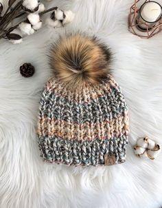 f714c608367 ADULT Chunky Knit Fur Pom Pom Hat Colorful Hudson Bay Pom-Pom Beanie Chunky  Knitted Hat Women Warm C