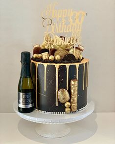 Black and gold vibes with this ⠀ Made by our drip cake queen, Sharmila! 30th Birthday Cakes For Men, Birthday Drip Cake, Elegant Birthday Cakes, Beautiful Birthday Cakes, Birthday Cake Decorating, Boyfriend Birthday Cake, Birthday Decorations For Men, Birthday Cake For Husband, Disney Birthday