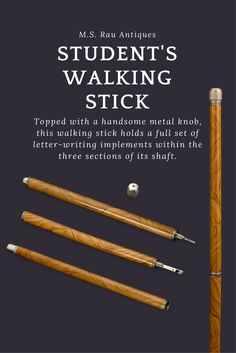 This intriguing student's cane exhibits impeccable design and practicality. Topped with a handsome metal knob, this walking stick holds a full set of letter-writing implements within the three sections of its shaft. These include a nib, or dip, an ink bottle, a pen and a mechanical pencil ~ Unique walking sticks, System cane, For Sale ~ M.S. Rau Antiques