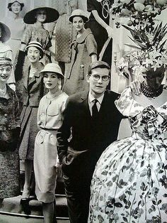 1958 - Yves Saint Laurent with models of Maison Dior