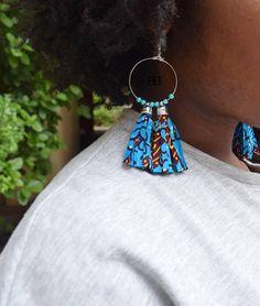 Creating DIY Fashion Trends – Designer Fashion Tips Denim Earrings, Fabric Earrings, Tassel Earrings, Fashion Earrings, Afro Hair Accessories, African Accessories, Diy Fabric Jewellery, Textile Jewelry, African Earrings