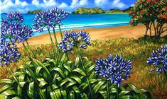 Caz Novack, New Zealander artist Nz Art, Art For Art Sake, Great Paintings, Nature Paintings, New Zealand Landscape, New Zealand Art, Art Folder, Maori Art, Plant Pictures