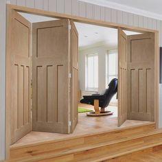 Thrufold DX 1930'S Oak Panel 3+2 Folding Door - Prefinished - Lifestyle Image.  #bifolddoors #periodfoldingdoors