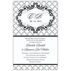 Black Scalloped Wedding Invitations