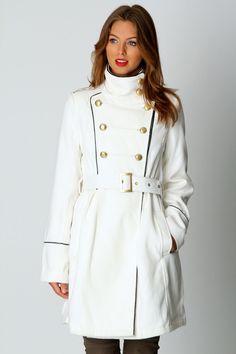 Pocket Belted Military Coat