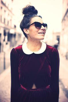#velvet #dress #peterpancollar and top knot