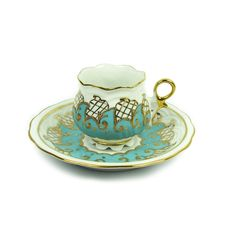 Hand designed Turkish Coffee Cup and Saucer with a Velvet Box Would love this for my  collection.