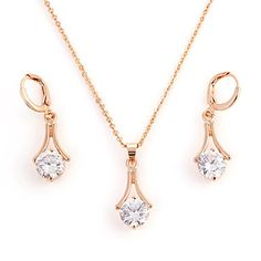 Fashion Gold Alloy (Necklace&Earrings) Gemstone Jewelry Sets(Gold) - USD $ 7.99