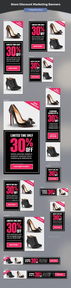 Store Discount Marketing Banners Template #design #banners #web Download: http://graphicriver.net/item/store-discount-marketing-banners/11787631?ref=ksioks