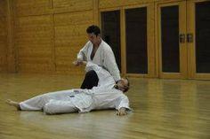 Aikidotraining in Wels: Budokan Wels. Sommertraining August 2014 ohne Tatami. Fixierung Tantodori