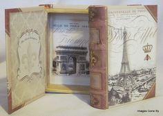 Imagen Victorian Caja Pequeño libro 'Torre Eiffel' adornado con lámina de oro Arco del Triunfo Corona Bee El Talentoso Punch Line Studio
