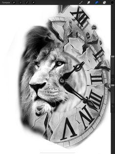 Lion Head Tattoos, Cool Arm Tattoos, Sleeve Tattoos, Tattoos For Guys, Clock Tattoo Design, Lion Tattoo Design, Family Tattoo Designs, Family Tattoos, Chandelier Tattoo