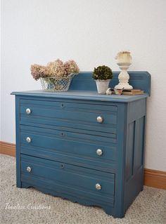 Beautiful Blue: Small Dresser Makeover | Timeless Creations, LLC