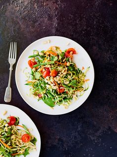 This quick and easy vegan som tam salad uses courgetti for extra colour, taste and substance. If you wanted a more authentic flavour though, use fish sauce instead of tamari (gluten free sauce)