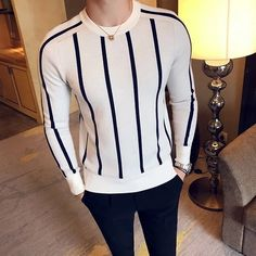 Fashion Striped Boutique Wool Blend Casual Round Neck Knitted Sweaters – TopFashionova